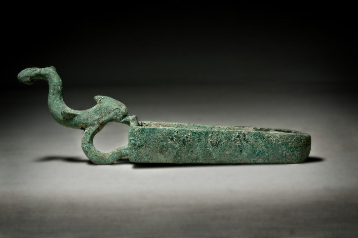 A Bronze Parthian-Roman Shovel with a Dolphin Handle