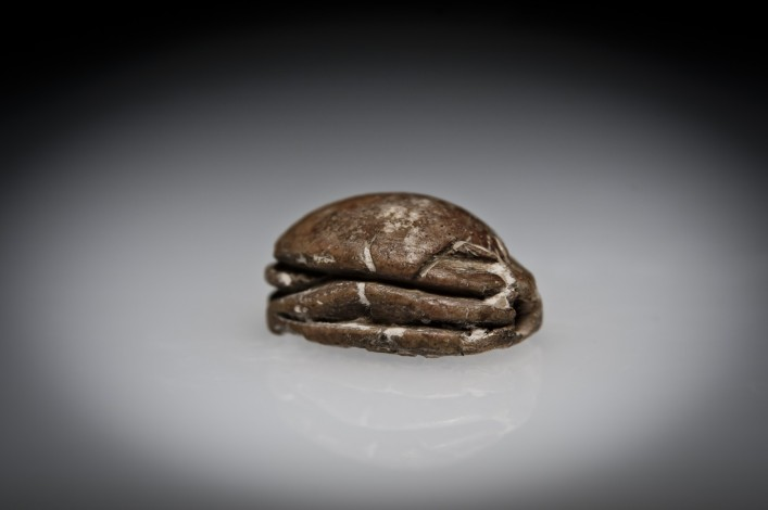 A Canaanite Steatite Scarab Engraved with a Figure in a Striking Pose