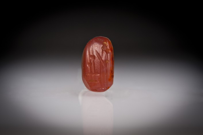 A Neo-Babylonian Carnelian Seal with Worshiper in Front of Loner Standard