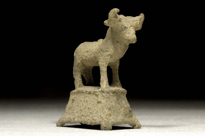 A Small Sabaean Bronze Figure of a Bull