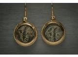 A Roman Prutah Coin set in a 18K Gold Earrings
