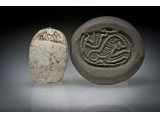 Canaanite Steatite Scarab Seal with a Recumbent Lion and a Cobra Above
