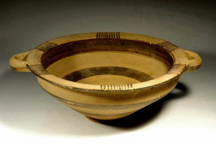 A Cypriot Bowl of White Slip II Ware. With Small Loop Handles