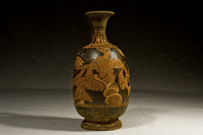 A Greek Apulian Squat Lekythos Decorated with a Seated Female