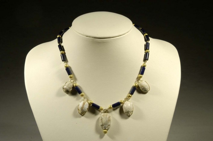 Egyptian Scarabs Mounted on a Necklace of Gold and Blue Beads