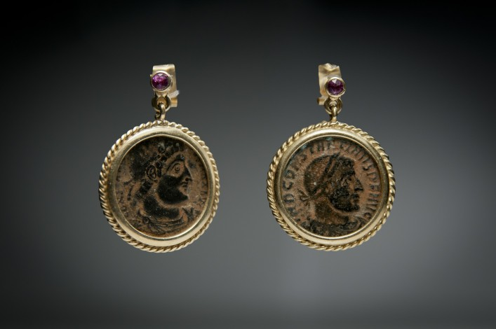 A Pair of Bronze Late Roman Coins, Mounted in 18k Gold Earrings with a Ruby on Each Earring