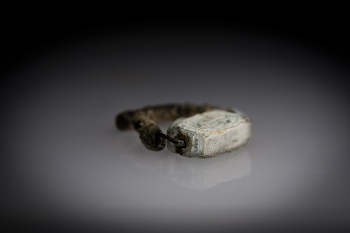 Egyptian Steatite Double Sided Stamp Seal with a Hieroglyph and a Cobra
