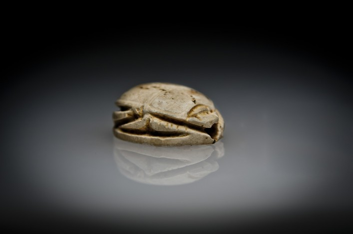 Egyptian Steatite Scarab Seal Engraved with the Goddess Nephti