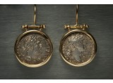 A Pair of Silver Denari  of the Roman Emperors Hadrian and Trajan, Mounted in 18k Gold Earrings